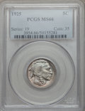 Buffalo Nickels: , 1925 5C MS66 PCGS. PCGS Population (216/12). NGC Census: (125/4).Mintage: 35,565,100. Numismedia Wsl. Price for problem fr...