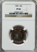 Proof Barber Quarters: , 1905 25C PR66 NGC. NGC Census: (37/25). PCGS Population (28/13). Mintage: 727. Numismedia Wsl. Price for problem free NGC/P...