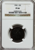 Proof Barber Quarters: , 1902 25C PR66 NGC. NGC Census: (38/19). PCGS Population (17/6). Mintage: 777. Numismedia Wsl. Price for problem free NGC/PC...