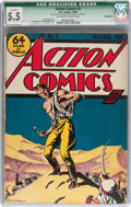 Golden Age (1938-1955):Superhero, Action Comics #5 (DC, 1938) CGC Qualified FN- 5.5 Off-white towhite pages....