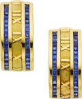 Estate Jewelry:Earrings, Sapphire, Gold Earrings, Tiffany & Co.. ...