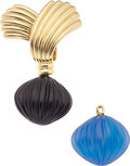 Estate Jewelry:Brooches - Pins, Black Onyx, Chalcedony, Gold Brooch, Van Cleef & Arpels. ...