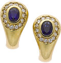 Estate Jewelry:Earrings, Sapphire, Diamond, Gold Earrings, Cartier. ...