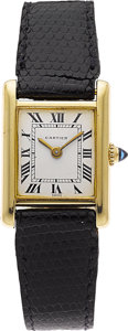 Estate Jewelry:Watches, Cartier Lady's Gold Tank Lizard Strap with Gold Plated BuckleWristwatch. ...