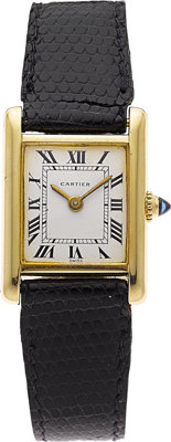 Cartier Lady's Gold Tank Lizard Strap with Gold Plated Buckle Wristwatch
