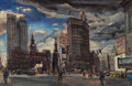American:Modern, ZOLTAN SEPESHY (American, 1898-1974). Campus Martius (CadillacSquare), 1947. Oil and gouache on canvas. 18 x 27 inches ...