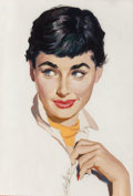 Pin-up and Glamour Art, JIM SCHAEFFING (American , 20th Century). Portrait of aLady, circa 1950. Gouache and tempera on board. 14 x 9.5 in.(im...