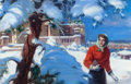 Mainstream Illustration, MANNING DEVILLENEUVE LEE (American, 1894-1980). WinterScene. Oil on canvas. 26.5 x 40.5 in.. Signed lower right. ...