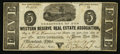 Obsoletes By State:Ohio, Cleveland, OH- The Western Reserve Real Estate Association $5 Dec.19, 1837 Wolka 0804-12. ...