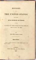 Books:Americana & American History, Salma Hale. History of the United States. London: JohnMiller, 1827. Second edition. Octavo. Half calf and marbled p...