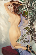 Pin-up and Glamour Art, LAWRENCE GORDON LOW (American, 1912-1992). Between the Acts.Oil on canvas. 36 x 24 in.. Signed upper left. ...