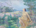 Pin-up and Glamour Art, NICOLA D'ASCENZO (American, 1871-1954). The Bather. Oil oncanvas. 27 x 34 in.. Signed and dated (indistinctly) lower le...