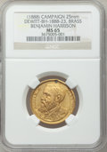 U.S. Presidents & Statesmen, (1888) Benjamin Harrison Campaign Medal MS65 NGC.DeWitt-BH-1888-23. Brass, 25 mm. The original hanger and ribbonaccompanie... (Total: 2 coins)