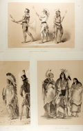 Books:Prints & Leaves, [Native Americans]. Group of Three Modern Sepia-Toned Lithographsafter George Catlin. Measures 17 x 22.25 inches. Minimal w...