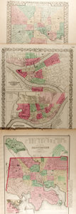 Books:Maps & Atlases, [Maps]. [Samuel Augustus Mitchell, Joseph Hutchins Colton, O.W. Gray]. Three Maps Depicting Cincinnati, Pittsburgh and Baltimo...