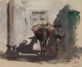 Fine Art - Painting, American:Antique  (Pre 1900), ROBERT FREDERICK BLUM (American, 1857-1903). SpanishMuleteer, 1882. Oil on canvasboard. 5-3/4 x 7 inches (14.6 x17.8 c...