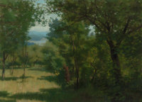 JOE EVANS (American, 1857-1898) Forest Opening with Lake in the Distance, 1884 Oil on canvas 16 x