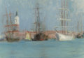 Fine Art - Painting, American:Antique  (Pre 1900), CHARLES STUART FORBES (American, 1860-1926). Ships inVenice. Oil on canvasboard. 7-1/4 x 10-3/8 inches (18.4 x 26.4cm)...