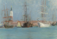 CHARLES STUART FORBES (American, 1860-1926) Ships in Venice Oil on canvasboard 7-1/4 x 10-3/8 inc