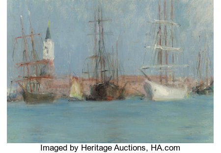 CHARLES STUART FORBES (American, 1860-1926)Ships in VeniceOil on canvasboard7-1/4 x 10-3/8 inches (18.4 x 26.4 cm)...