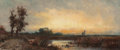 Fine Art - Painting, American:Antique  (Pre 1900), WILLIAM HENRY HILLIARD (American, 1836-1905). Dusk. oil oncanvas. 5-1/2 x 12-1/2 inches (14.0 x 31.8 cm). THE JEAN AN...