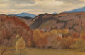 Fine Art - Painting, European:Antique  (Pre 1900), GEORGE JAMES HOWARD (British, 1843-1911). Autumn Hillside with aHidden Cottage. Oil on panel. 7-7/8 x 12-1/8 inches (20...