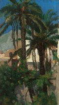 Fine Art - Painting, American, FRANCIS DAVIS MILLET (American, 1846-1912). Palms, Capri,1874. Oil on canvas laid on board. 12 x 7 inches (30.5 x 17.8 ...