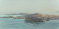 Fine Art - Painting, American:Contemporary   (1950 to present)  , ROBERT E. MOORE (American, 1956-2003). Coastal Rocks in a FogBank, 1987. Oil on canvas. 12 x 24 inches (30.5 x 61.0 cm)...