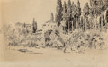Fine Art - Work on Paper:Drawing, JOSEPH PENNELL (American, 1857-1926). Fruitful Orchards ofGeneral Ho, 1875. Pen, ink and wash on paper. 10-3/4 x 17inc...