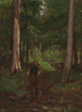 Paintings, CHARLES STANLEY REINHART (American, 1844-1896). Figure on a Forest Pathway. Oil on canvas. 16 x 12 inches (40.6 x 30.5 c...