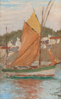 EDWARD EMERSON SIMMONS (American, 1852-1931) Fishing Sloop, Concarneau Oil on artists' board 8-3/