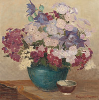 MARGARET ALEXINA FULTON SPENCER (American, 1882-1966) Blue Bowl and Phlox Oil on canvas 14 x 14 i