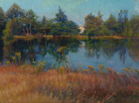 ELIZABETH STRONG (American, 1855-1941) Hidden Cabin on a Lake Oil on canvas 12 x 16 inches (30.5