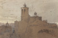 Works on Paper, ROSS STERLING TURNER (American, 1847-1915). Cathedral. Watercolor and gouache on paper. 6-3/4 x 10-1/2 inches (17.1 x 26...