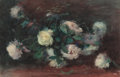 Fine Art - Work on Paper:Watercolor, ALEXANDER THEOBALD VAN LAER (American, 1857-1920). Still Lifewith White Roses. Watercolor and gouache on paper. 12 x 19...