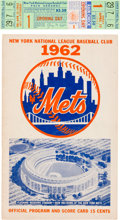 Baseball Collectibles:Others, 1962 New York Mets Opening Day Full Ticket & Program--FirstGame in Franchise History!...