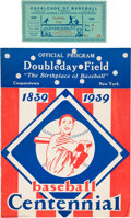 Baseball Collectibles:Others, 1939 Baseball Hall of Fame Grand Opening Program & Ticket Stub....