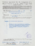 Autographs:Others, 1950 Branch Rickey Signed Transfer Document for Carl Erskine....