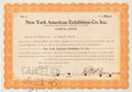 Autographs:Others, 1940 New York Yankees Stock Certificate Signed by Weiss &Barrow....