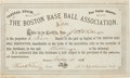 Baseball Collectibles:Others, 1876 Boston Base Ball Association Stock Certificate....