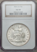 Trade Dollars: , 1875-CC T$1 AU58 NGC. NGC Census: (62/143). PCGS Population(30/194). Mintage: 1,573,700. Numismedia Wsl. Price for problem...