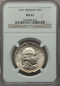 Commemorative Silver: , 1927 50C Vermont MS65 NGC. NGC Census: (768/218). PCGS Population(933/359). Mintage: 28,142. Numismedia Wsl. Price for pro...