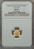 California Fractional Gold: , 1876/5 50C Indian Round 50 Cents, BG-1059, R.4, MS64 NGC. NGCCensus: (2/0). PCGS Population (7/3). ...