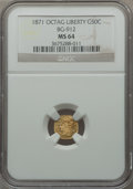 California Fractional Gold: , 1871 50C Liberty Octagonal 50 Cents, BG-912, R.3, MS64 NGC. NGCCensus: (7/2). PCGS Population (36/7). ...
