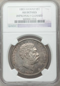 Coins of Hawaii: , 1883 $1 Hawaii Dollar -- Improperly Cleaned -- NGC Details. AU. NGCCensus: (28/179). PCGS Population (63/196). Mintage: 50...