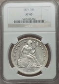 Seated Dollars: , 1871 $1 XF40 NGC. NGC Census: (53/463). PCGS Population (104/577).Mintage: 1,074,760. Numismedia Wsl. Price for problem fr...