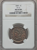 Large Cents: , 1849 1C MS64 Brown NGC. N-12. NGC Census: (41/31). PCGS Population (24/5). Mintage: 4,178,500. Numismedia Wsl. Price for p...