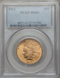 Indian Eagles: , 1912 $10 MS63 PCGS. PCGS Population (940/288). NGC Census:(969/352). Mintage: 405,083. Numismedia Wsl. Price for problem f...