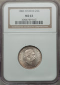 Coins of Hawaii: , 1883 25C Hawaii Quarter MS63 NGC. NGC Census: (184/504). PCGSPopulation (293/605). Mintage: 500,000. ...