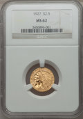 Indian Quarter Eagles: , 1927 $2 1/2 MS62 NGC. NGC Census: (5051/6736). PCGS Population(2675/5122). Mintage: 388,000. Numismedia Wsl. Price for pro...